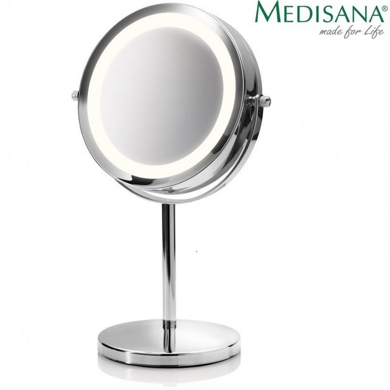 Dvipusis didinantis kosmetinis veidrodis Medisana veidui su stovu ir apšvietimu (X1/X5)
